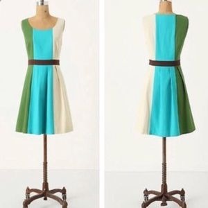 Anthropologie Tabitha color block glanz dress